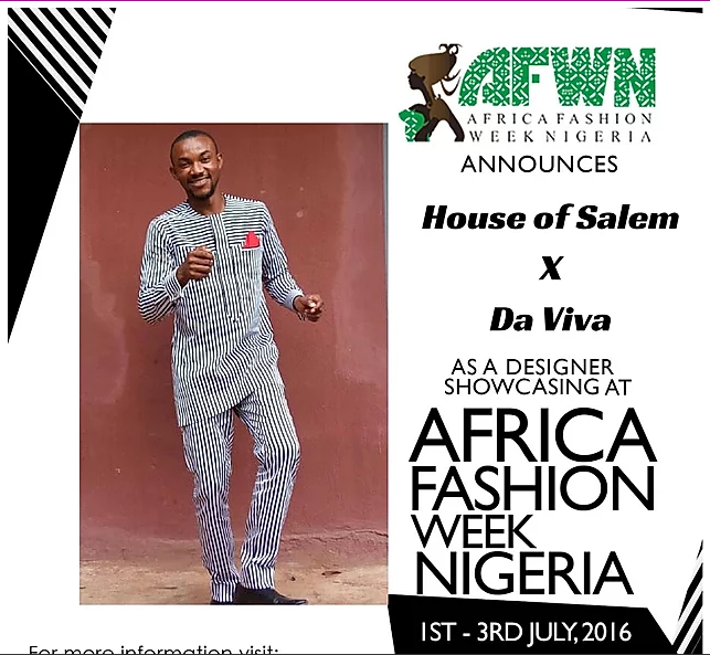 MEET HOUSE OF SALEM At AFWN 2016 (proudly Sponsored By Da Viva) With His Collection Made With Da Viva Fabrics.